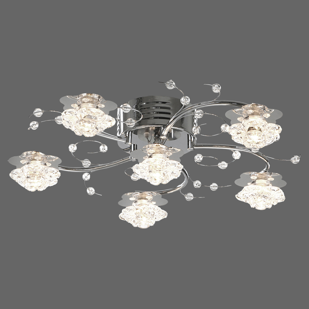 deckenlampe mit 6 bl ten chrom. Black Bedroom Furniture Sets. Home Design Ideas
