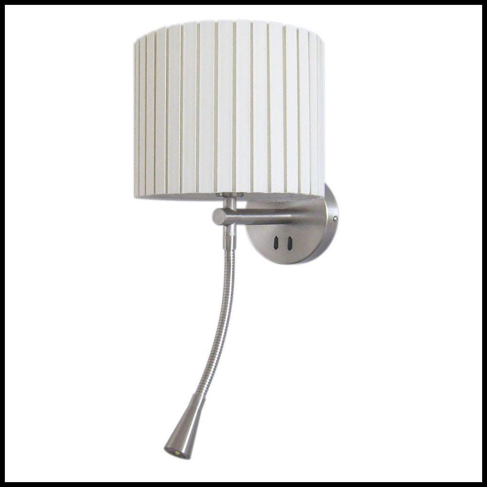 e14 wandlampe mit led leselicht und weissem schirm. Black Bedroom Furniture Sets. Home Design Ideas