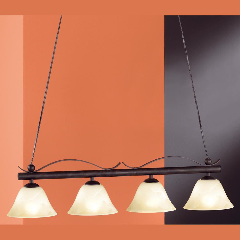rostfarbige pendellampe vier leuchten. Black Bedroom Furniture Sets. Home Design Ideas