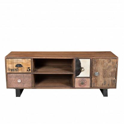 lowboard in holz und metall mit verschiedenen bez gen. Black Bedroom Furniture Sets. Home Design Ideas