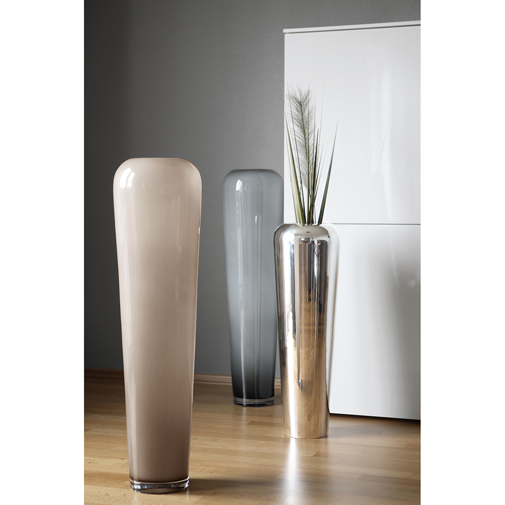 Hohe Bodenvase In Greige Opal