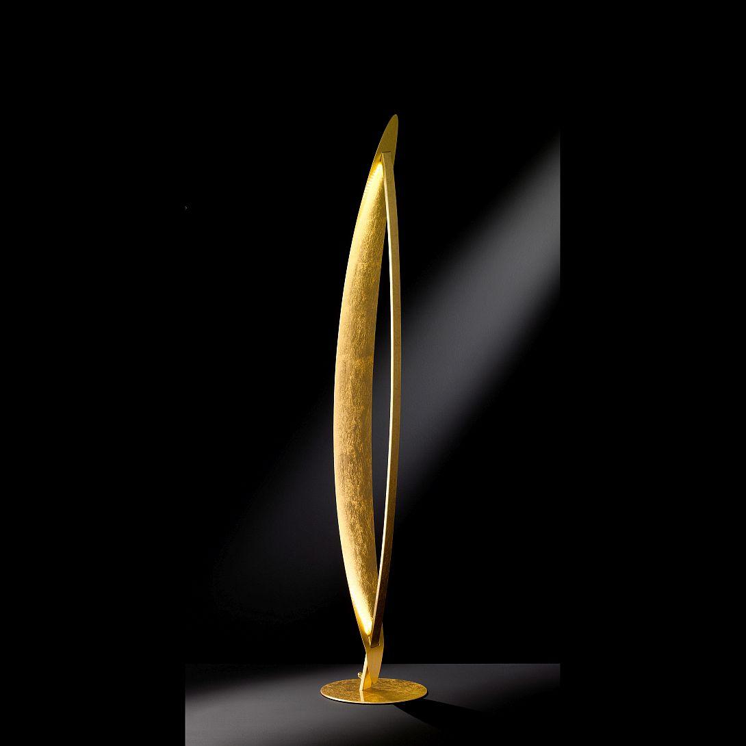 Led stehlampe in gold mit indirekter lichtabgabe for Hohe windlichter