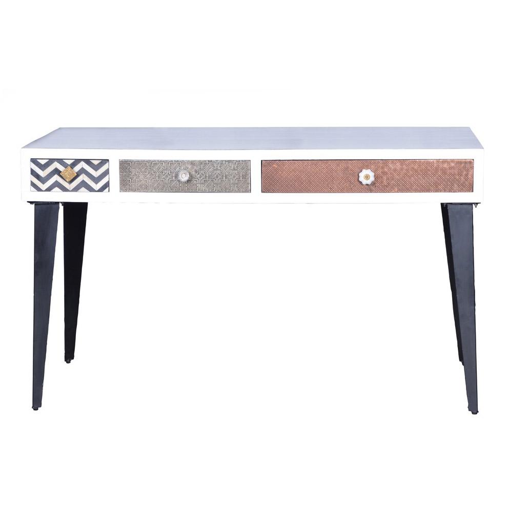 tisch mit schubladen aus edlem materialmix