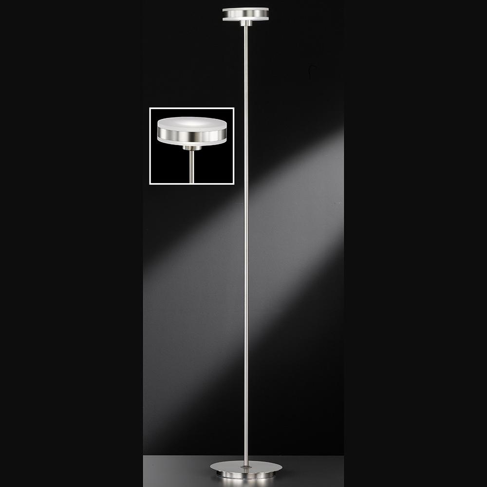 futuristische led stehlampe in mattnickel. Black Bedroom Furniture Sets. Home Design Ideas