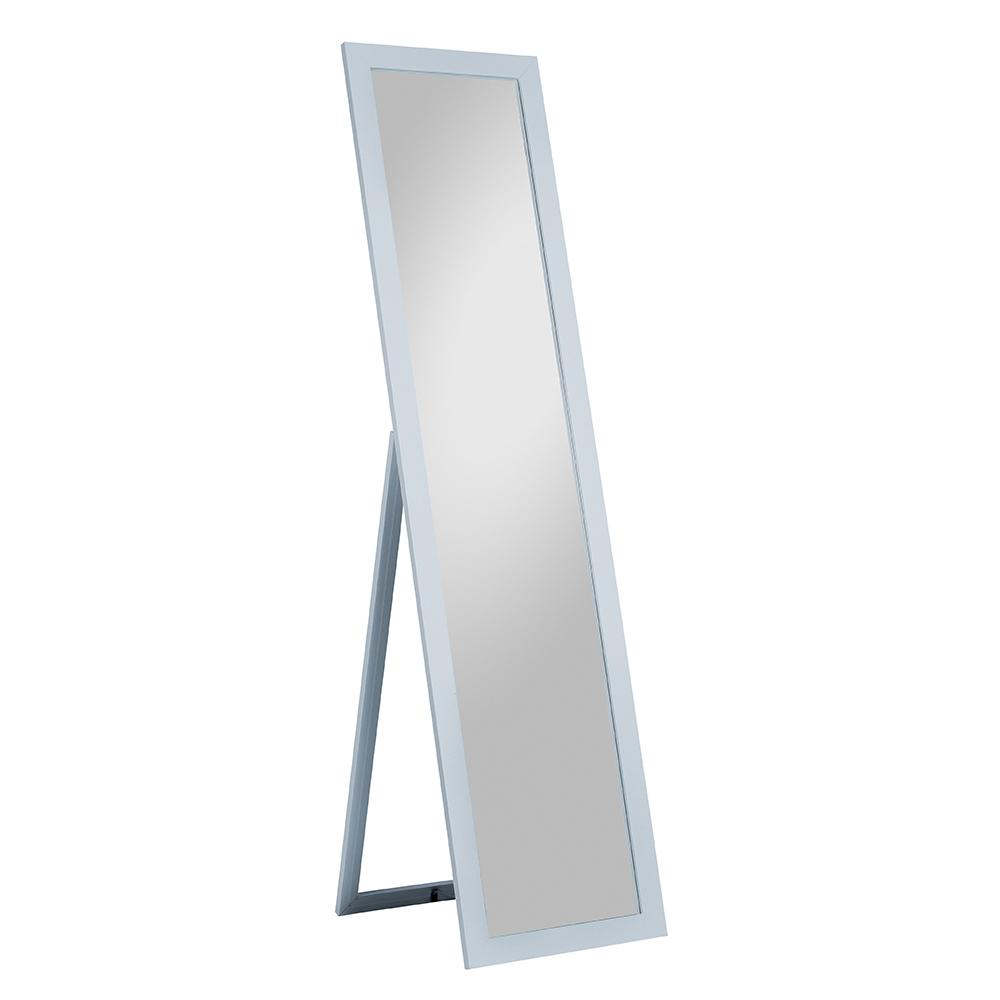 Silberfarbiger Standspiegel mit Holzgestell