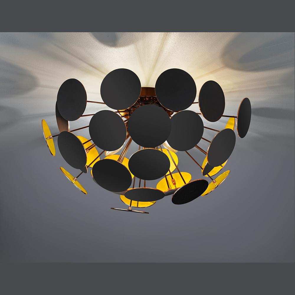deckenleuchte in metall innen golden verspiegelt. Black Bedroom Furniture Sets. Home Design Ideas