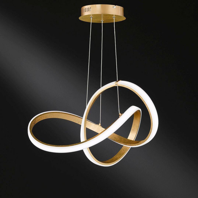 LED Hängelampe in goldener Endlos-Schleife