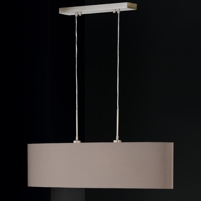Klassische pendelleuchte in cappuccino und mattnickel for Pendelleuchte oval stoff
