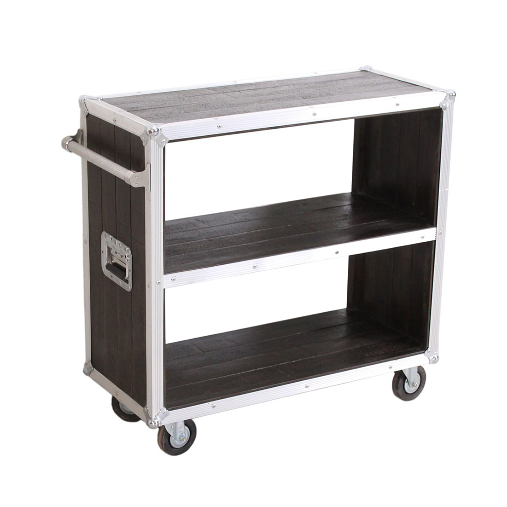 Küchenwagen aus Holz mit Metallapplikationen