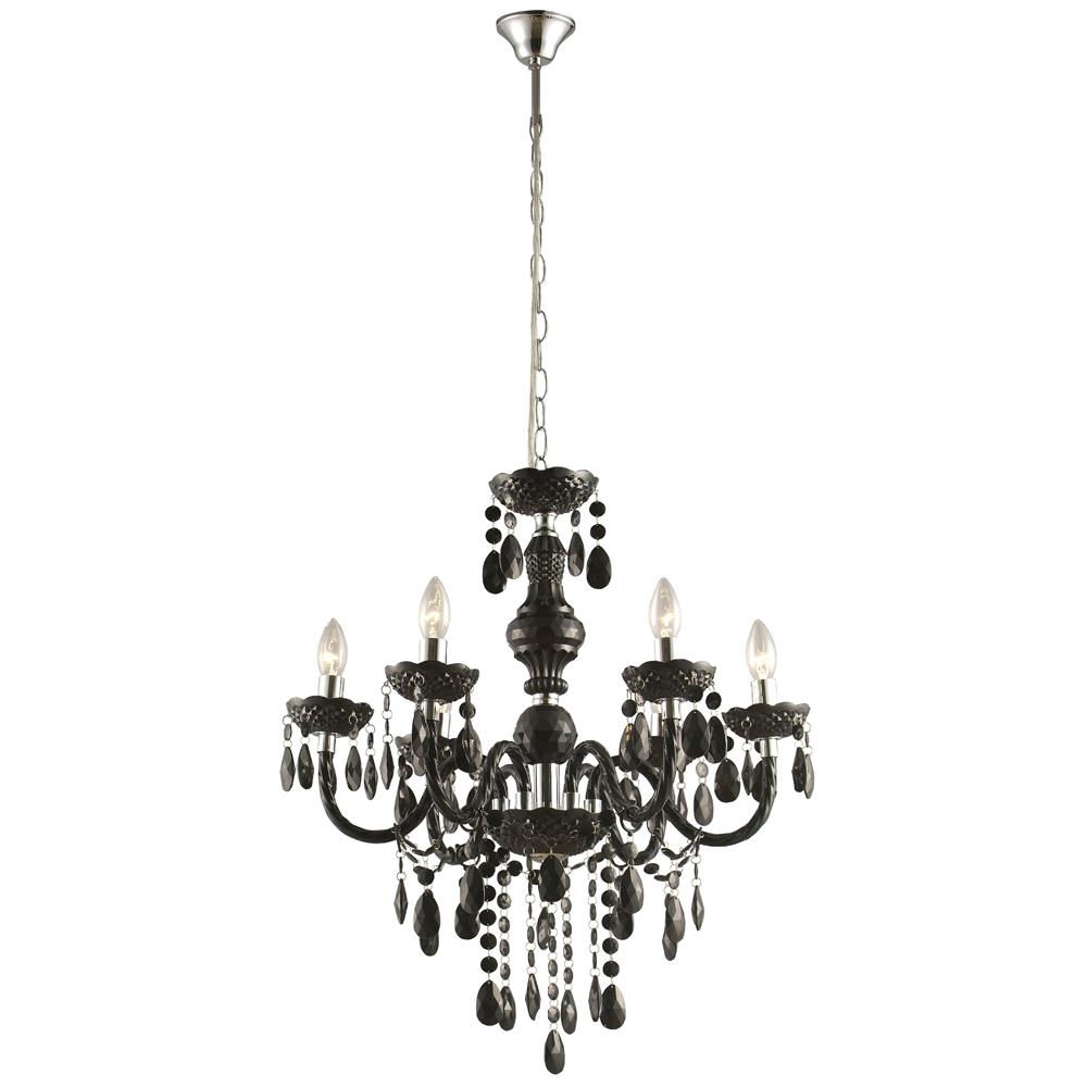 kronleuchter schwarz chromkappe glanzvolle beleuchtung. Black Bedroom Furniture Sets. Home Design Ideas