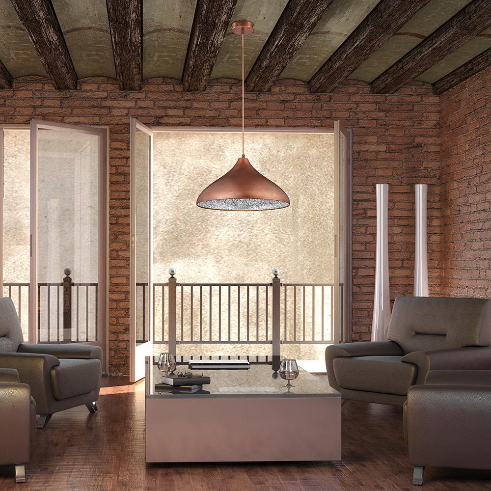 kupferfarbige pendelleuchte im vintagelook. Black Bedroom Furniture Sets. Home Design Ideas