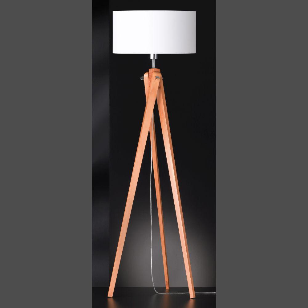 g nstige studioleuchte mit massivem holznatur gestell als dreibein mit led leuchtmittel optional. Black Bedroom Furniture Sets. Home Design Ideas