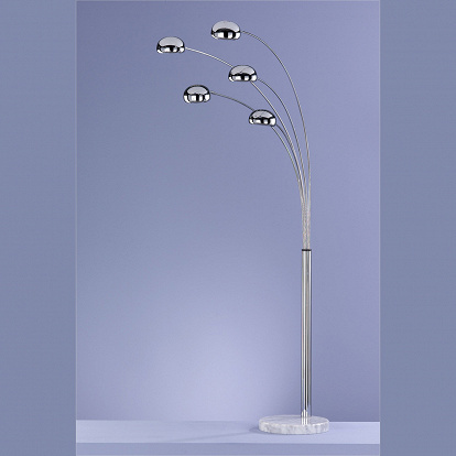 Designer-Stehlampe in Chrom mit Marmorfuss in weiss