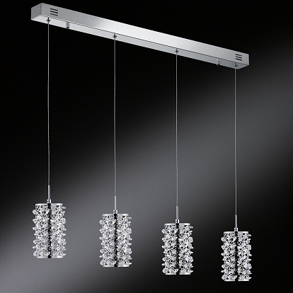 LED Pendellampe in Chrom 4-Flammig