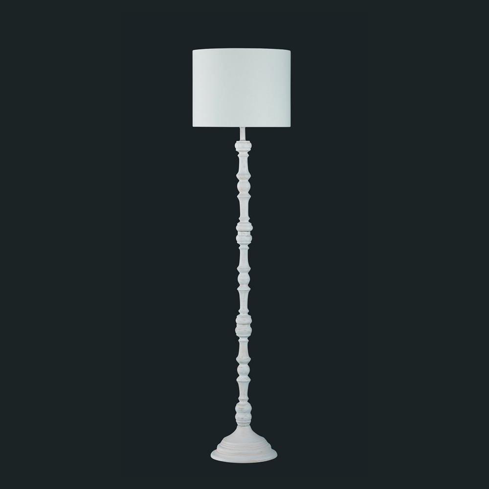 Antikholz Stehlampe In Weiss Mit Stoffschirm